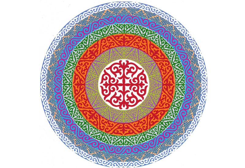 最大的哈萨克传统手工圆形纯羊毛毡毯